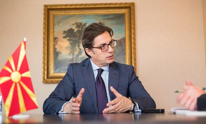 """Der nordmazedonische Präsident Stevo Pendarovski im Interview mit der """"Presse""""."""