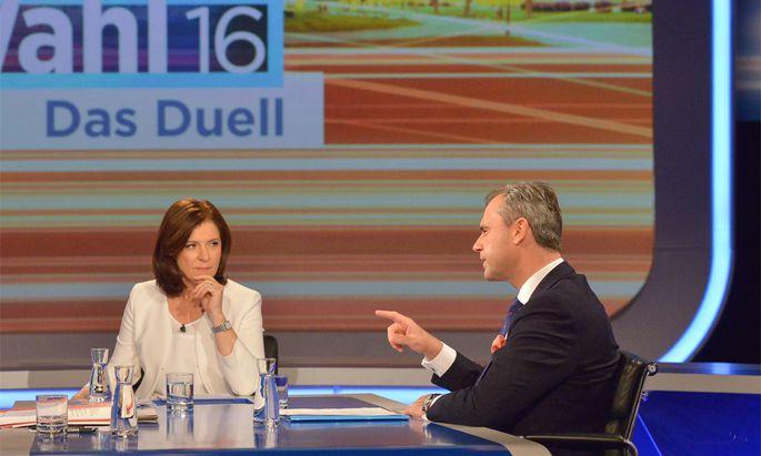 Das Duell der Kandidaten Norbert Hofer und Alexander Van der Bellen lief am Donnerstag im ORF.