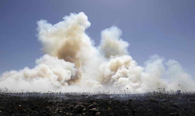 Rauch nach Bombeneinschlägen