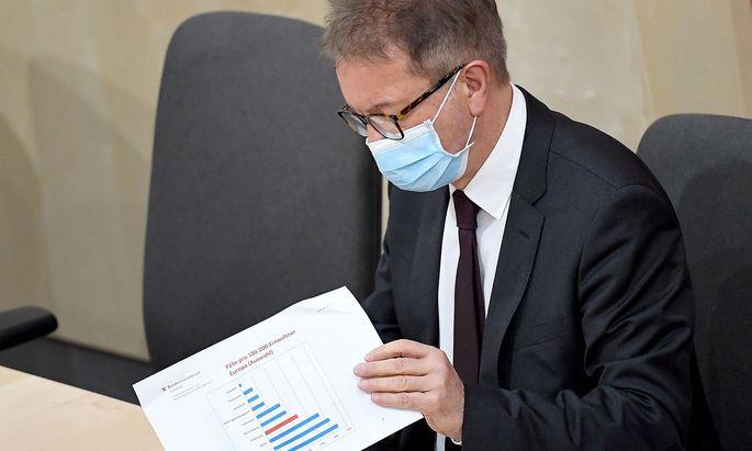 Gesundheitsminister Rudolf Anschober bei einer Parlamentssitzung während der Coronaviruskrise (Archivbild).