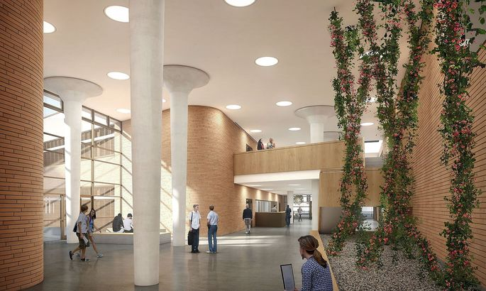 So soll das Foyer des neuen Zentrums aussehen.