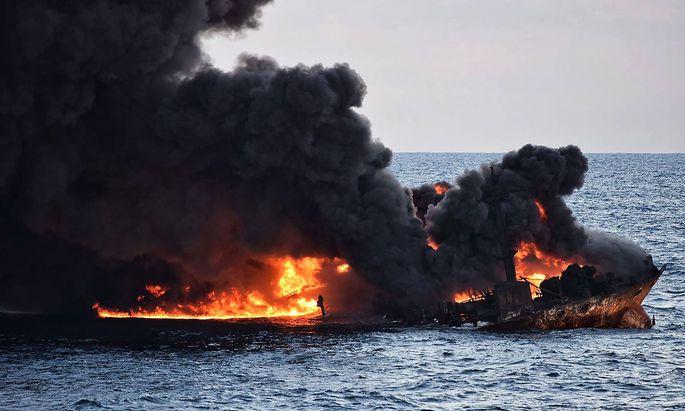 """Die """"Sanchi"""" ging mit großen Mengen Ölkondensat an Bord unter."""
