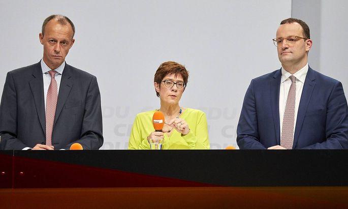 Friedrich Merz, Annegret Kramp-Karrenbauer und Jens Spahn.