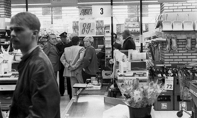 Nach den Morden in einem Supermarkt in Aalst, November 1985.