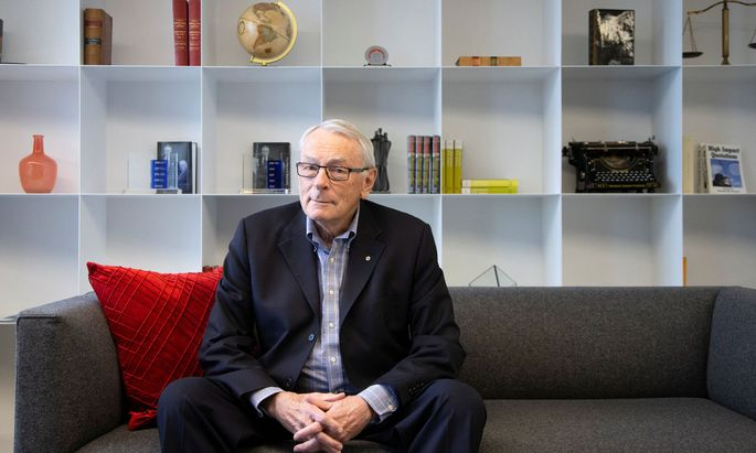 International Olympic Committee (IOC) member Dick Pound poses in his offices in Montreal