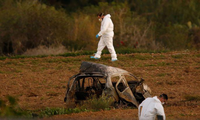 Die Überreste von Galizias Peugeot. Die maltesische Journalistin wurde getötet.