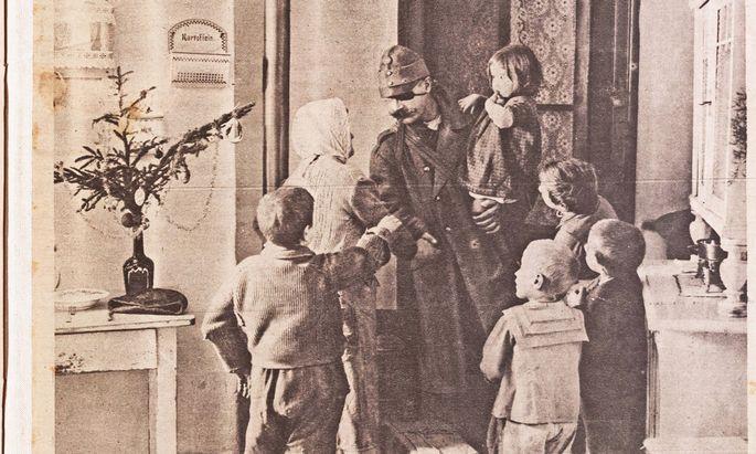 """""""Die ersten Friedensweihnachten"""": Titelbild des """"Interessanten Blattes"""", Wien, 26. Dezember 1918."""