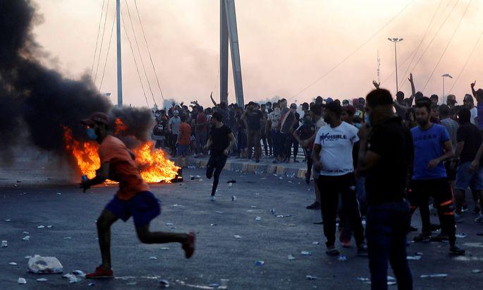 Die Proteste flauten auch in Bagdad nur langsam ab.