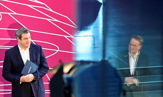 Offiziell Rivalen: Markus Söder (links) und Armin Laschet wollen beide dasselbe, nämlich CDU/CSU-Kanzlerkandidat sein.