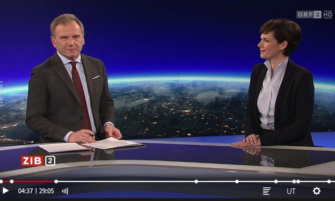 Armin Wolf und Pamela Rendi-Wagner in der ZiB2 vom 27.1.2020.