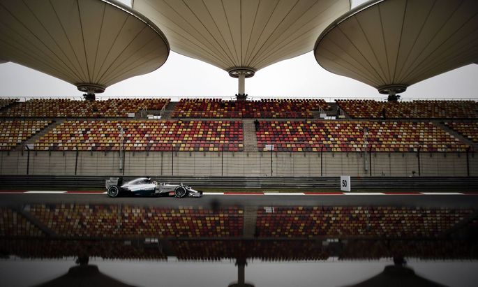 Mercedes Formula One driver Lewis Hamilton of Britain drives during the first practice session of the Chinese F1 Grand Prix at the Shanghai International circuit
