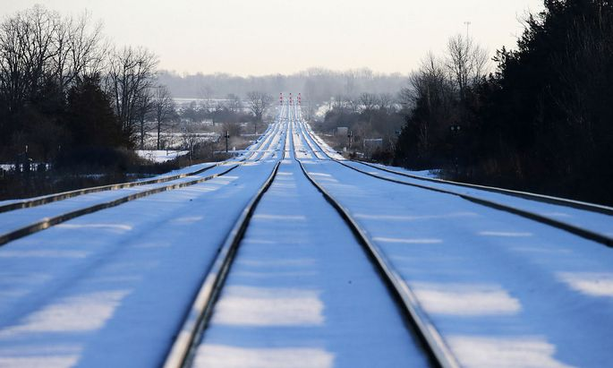 Train tracks lead towards the camp of First Nations members of the Tyendinaga Mohawk Territory