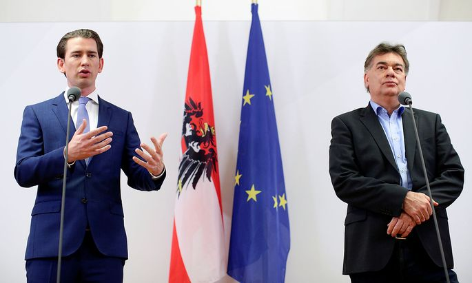 FILE PHOTO: Head of Austria's Green Party, Kogler and Head of People's Party, Kurz, deliver a statement in Vienna