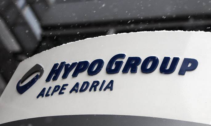 The logo of Austrian Hypo Group Alpe Adria is pictured at its headquarters during snowfall in Klagenfurt