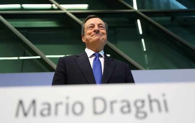 FILE PHOTO: ECB President Draghi addresses a news conference at the ECB headquarters in Frankfurt