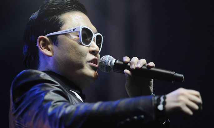 South Korean rapper Psy PARK JAE SANG performing live at Taxim Square in Istanbul Turkey PUBLIC