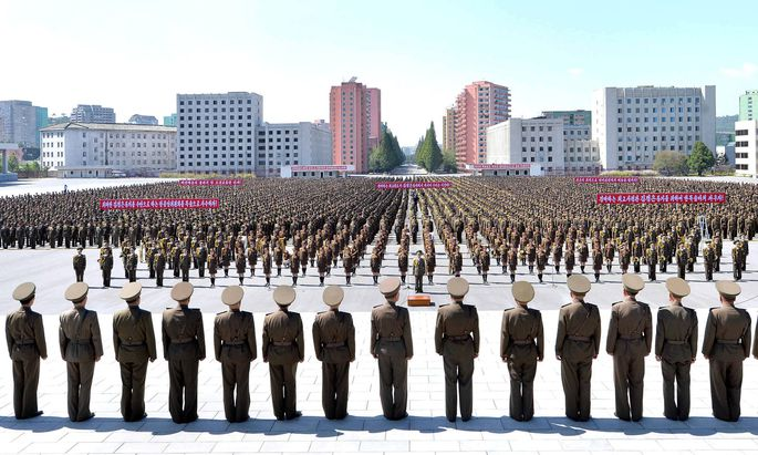 Zackiger Protest in Nordkorea: Anti-US-Kundgebung am vergangenen Samstag in Pjöngjang.