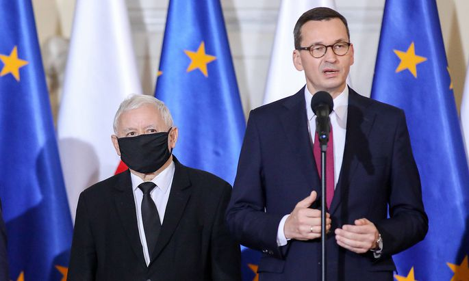 Polish Prime Minister Mateusz Morawiecki holds a press conference on the government reconstruction Jaroslaw Kaczynski,