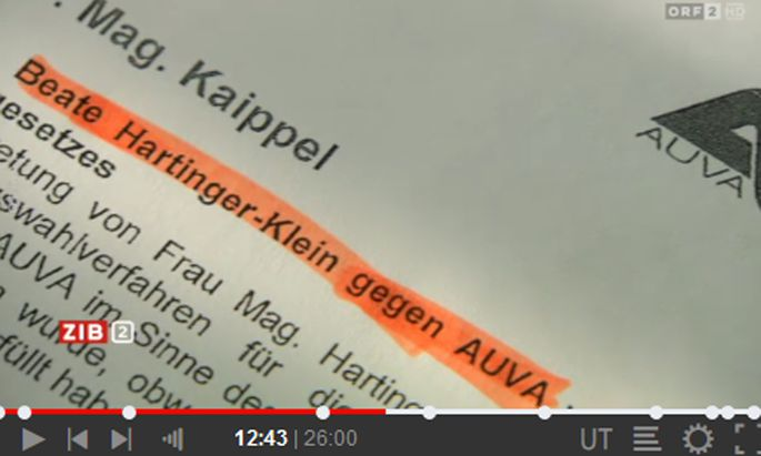 ''ZiB2'' zeigt angebliche Bewerbungsunterlagen von Beate Hartinger-Klein bei der AUVA