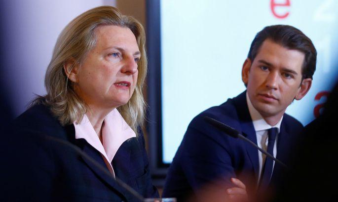 Außenministerin Karin Kneissl und Bundeskanzler Sebastian Kurz.