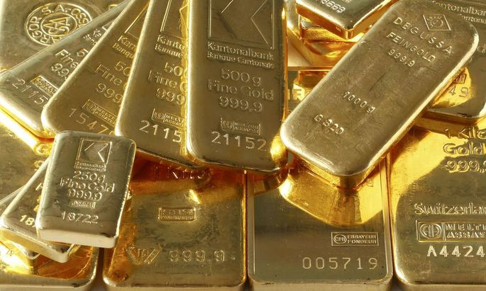 Gold bars from the vault of a bank are seen in this illustration picture taken in Zurich