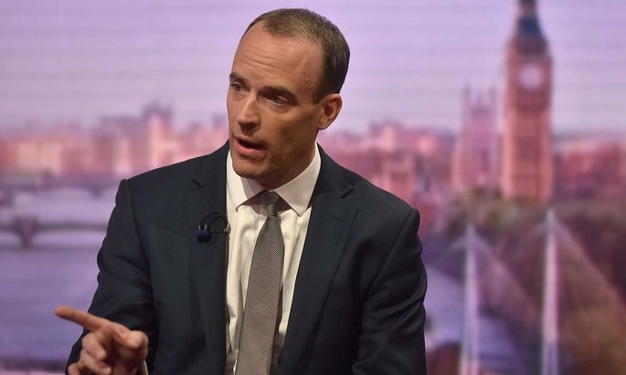 Britain's Secretary of State for Exiting the European Union Dominic Raab appears on the Marr Show on BBC television in London