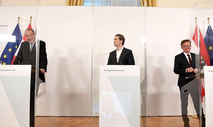 Bildungsminister Heinz Faßmann, Bundeskanzler Sebastian Kurz und Gesundheitsminister Rudolf Anschober