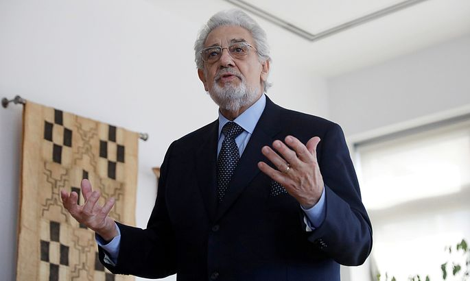 FILE PHOTO: Opera singer Placido Domingo speaks during an event at the Manhattan School of Music in New York