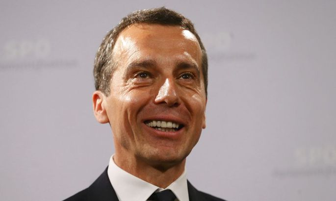 Designated Austrian Chancellor Kern of the Social Democratic Party (SPOe) reacts during a news conference in Vienna