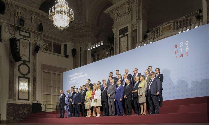 Die Außenminister bei ihrem informellen Treffen in der Hofburg in Wien.