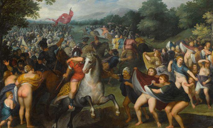 """Otto Van Veen, """"Die persischen Frauen"""" (1597/1599) schicken mit eindeutiger Geste die Männer wieder zurück in die verlorene Schlacht. Das Gemälde ist als Teil der Installation von R. H. Quaytman in der Secession zu sehen."""