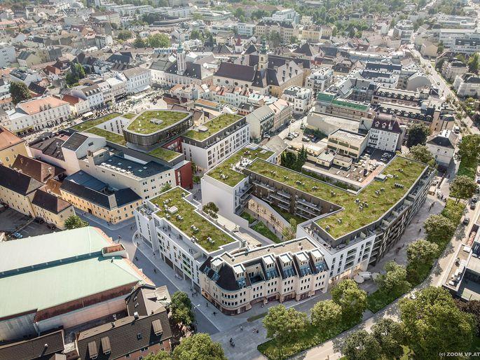 Das Projekt im Roßmarkt-Viertel ist in mehrere Baufelder gegliedert.