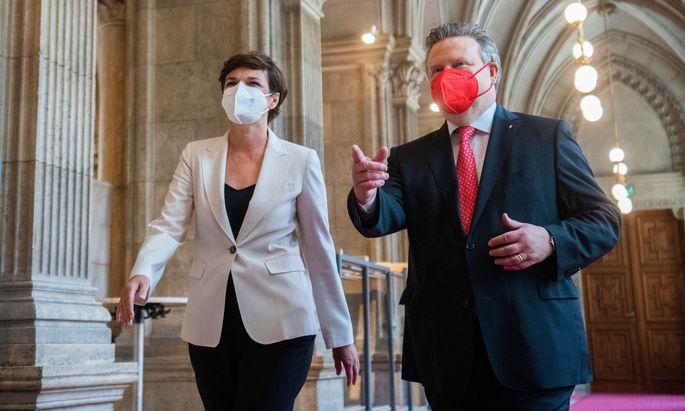 SPÖ-Bundesparteichefin Pamela Rendi-Wagner und Wiens Bürgermeister Michael Ludwig