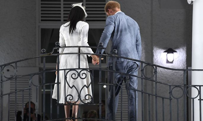 Royal tour of Fiji Day One Prince Harry Duke of Sussex and Meghan Duchess of Sussex arrive in Suv