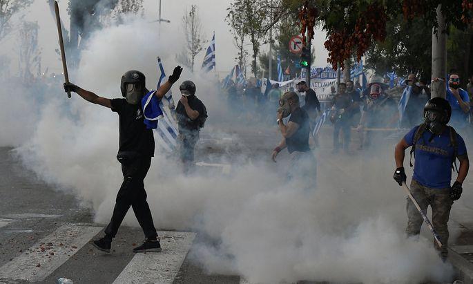 Ein Teil der Demonstranten in Thessaloniki verhielt sich aggressiv.