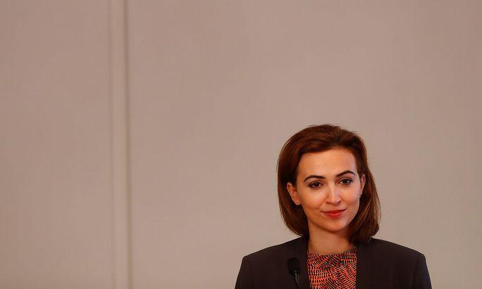 Austrian Justice Minister Alma Zadic addresses the media in Vienna