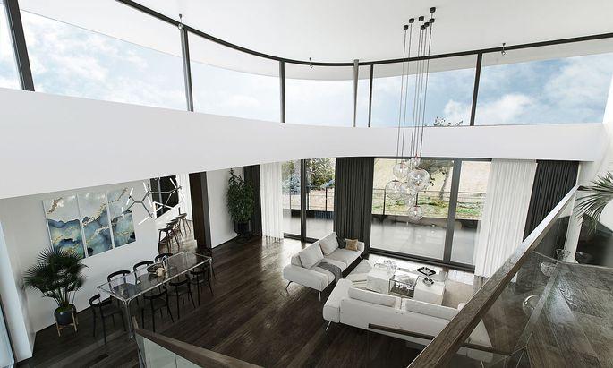 Alles gestagt: Wohnzimmer mit Fußboden, Möbeln und Asseccoires.