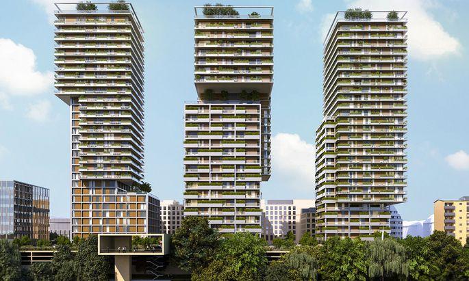 So sollen die Wohntürme Triiiple nach der Fertigstellung 2021 aussehen.