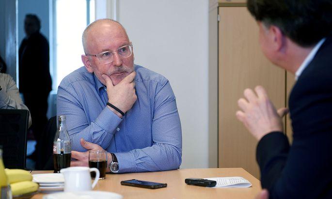 Frans Timmermans, Vizepräsident der EU-Kommission und Spitzenkandidat der europäischen Sozialdemokraten nahm am SPÖ-Wahlkampfauftakt in Wien teil.