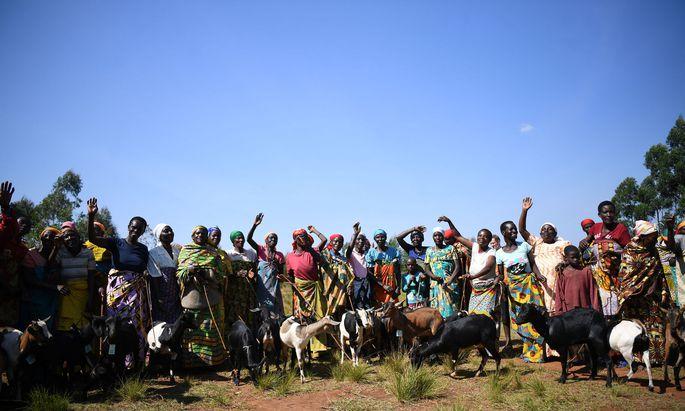 Tanzend und singend freuen sich die Frauen über die Ziegen, die sie bekommen haben.
