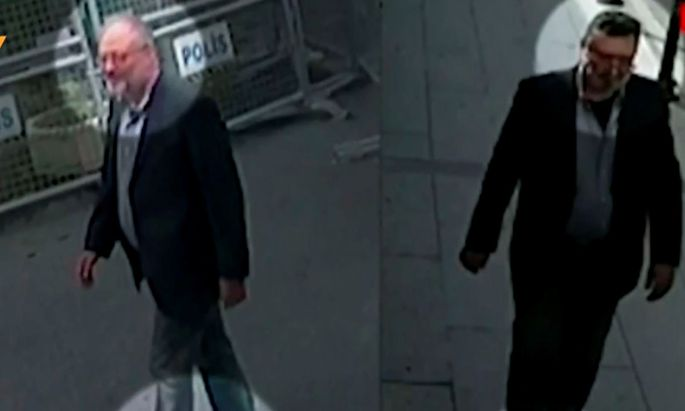 Links Jamal Khashoggi bei seiner Ankunft am Konsulat - rechts sein Double.