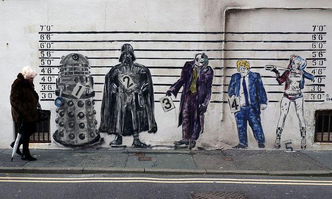 Die britische Regierung will die EU das Fürchten lehren – so wie dieses Graffito in London das Boris Johnson in einer Reihe von Bösewichten zeigt