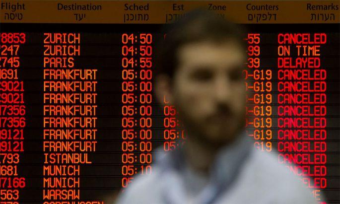 Auf dem Flughafen Tel Aviv werden nur wenige Flüge abgewickelt.
