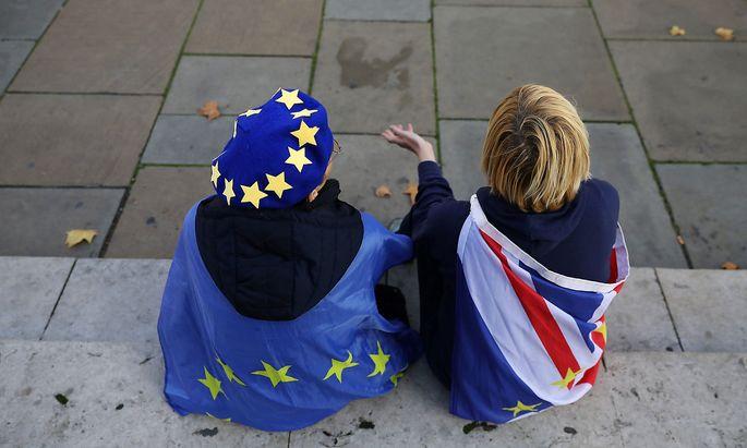 Brexit-Demonstranten vor dem Londoner Parlament.