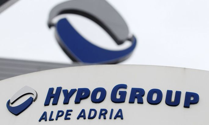 The logo of nationalised lender Hypo Alpe Adria is pictured at the bank's headquarters in Klagenfurt