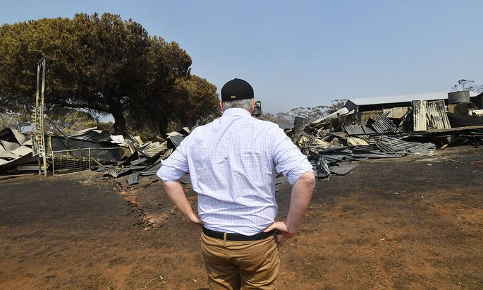 Australiens Premierminister Scott Morrison besuchte die durch die Feuer zerstörte Kangaraoo-Insel.