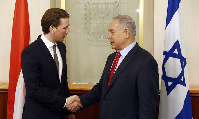 Außenminister Sebastian Kurz mit seinem Gastgeber Benjamin Netanjahu.