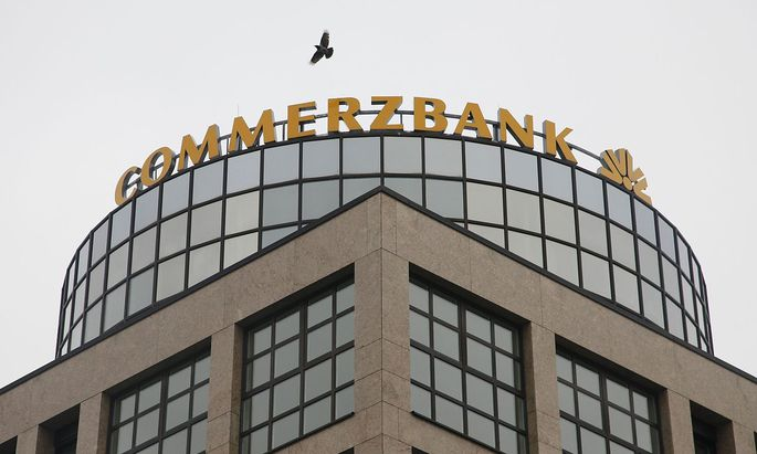 A 'Commerzbank' logo is pictured in Berlin