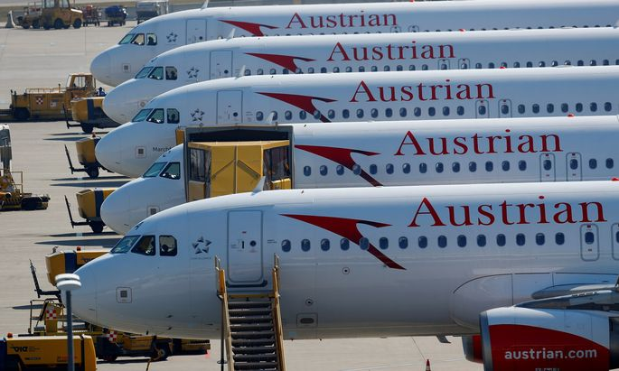 Planes of Lufthansa unit Austrian Airlines are parked at Vienna International Airport in Schwechat
