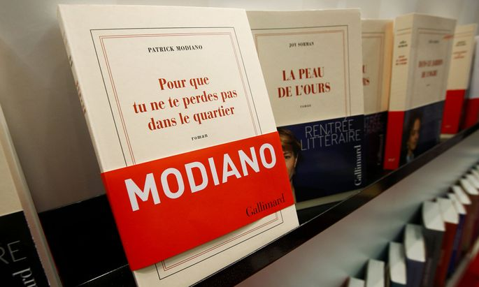 Books by Nobel prize winner Patrick Modiano are displayed at the book fair in Frankfurt